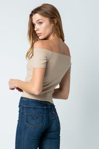 Taupe Ribbed Off Shoulder