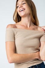Load image into Gallery viewer, Taupe Ribbed Off Shoulder