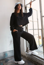 Load image into Gallery viewer, Knit Sweat Top and Wide Leg Pants Lounge Set