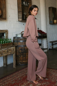 Knit Sweat Top and Wide Leg Pants Lounge Set