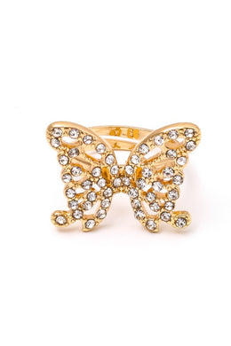 Studded Butterfly Band Ring