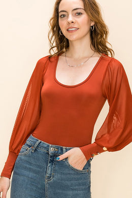 Rust Mesh Sleeve Top