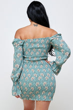 Load image into Gallery viewer, Sea Form Floral Smocked Off the Shoulder Bodycon Dress