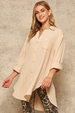 Crinkle Cotton Oversized Button-Front Pocket Shirt