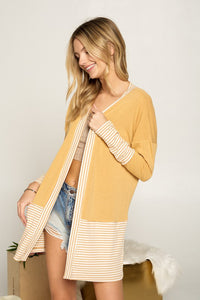 Sand Striped Contrast Open Cardigan