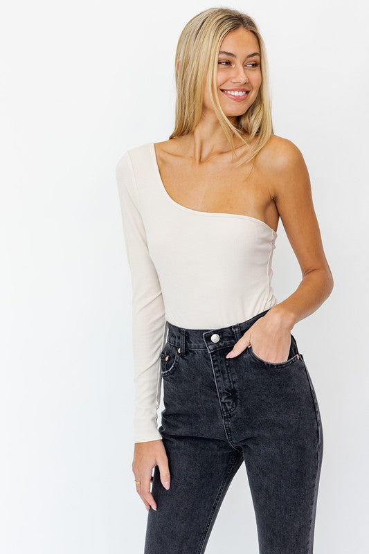 Taupe One Shoulder Bodysuit