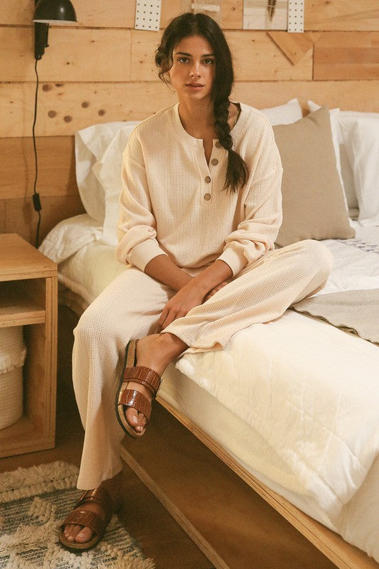 Natural Stretch Waffle Henley Top & Pants Lounge Knit Sets