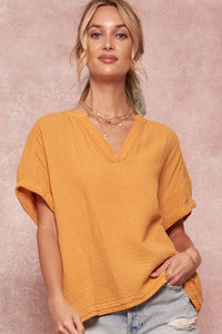Cotton Crepe Oversized V-Neck Top
