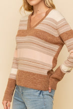 Load image into Gallery viewer, Stripe V-neck Sweater