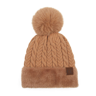 CC Knitted hat with Faux Fur