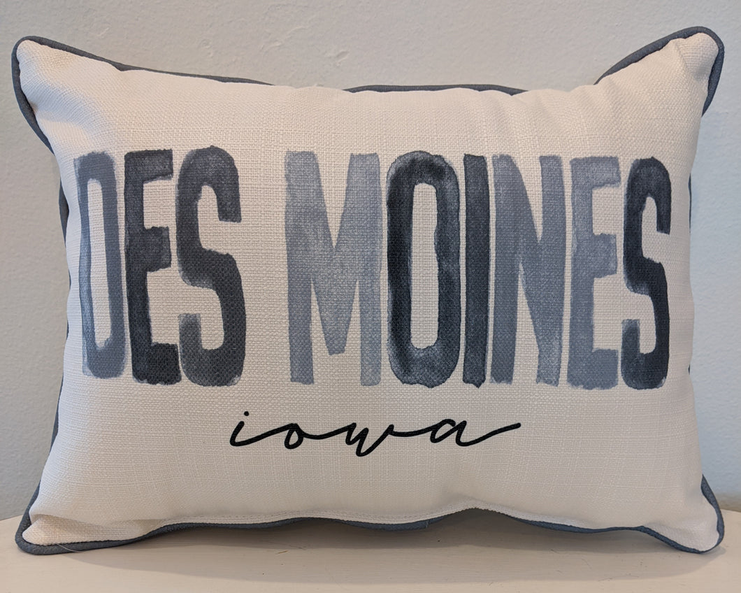 Watercolor Des Moines Pillow