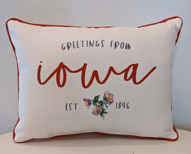 Greetings from Iowa Pillow
