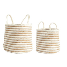 Load image into Gallery viewer, Beige & Gold Stripe Basket