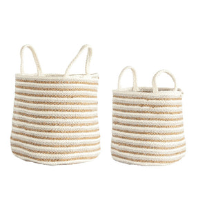 Beige & Gold Stripe Basket