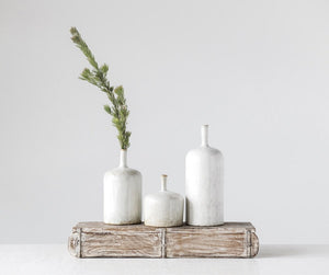 White Bottleneck Vase