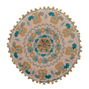 Round Cotton Embroidered Pillow with Pom Poms