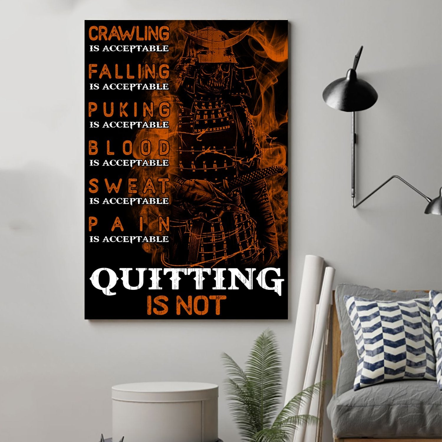 (cv184) samurai poster - quitting is not