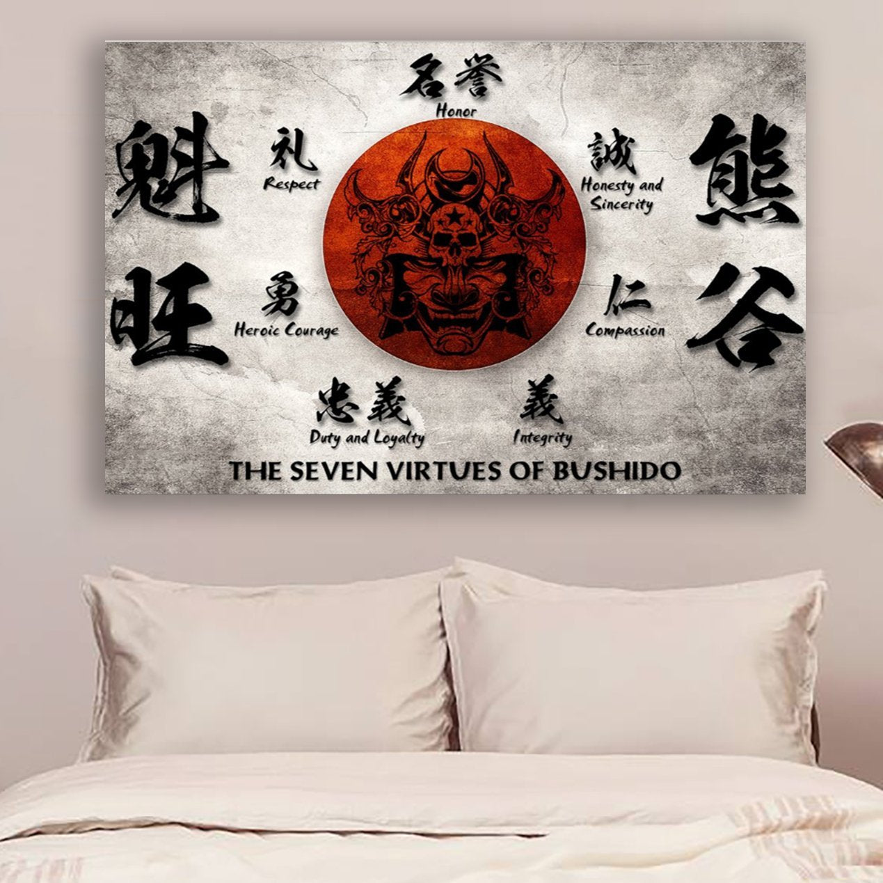 (cv187) samurai poster - the seven virtues of bushido