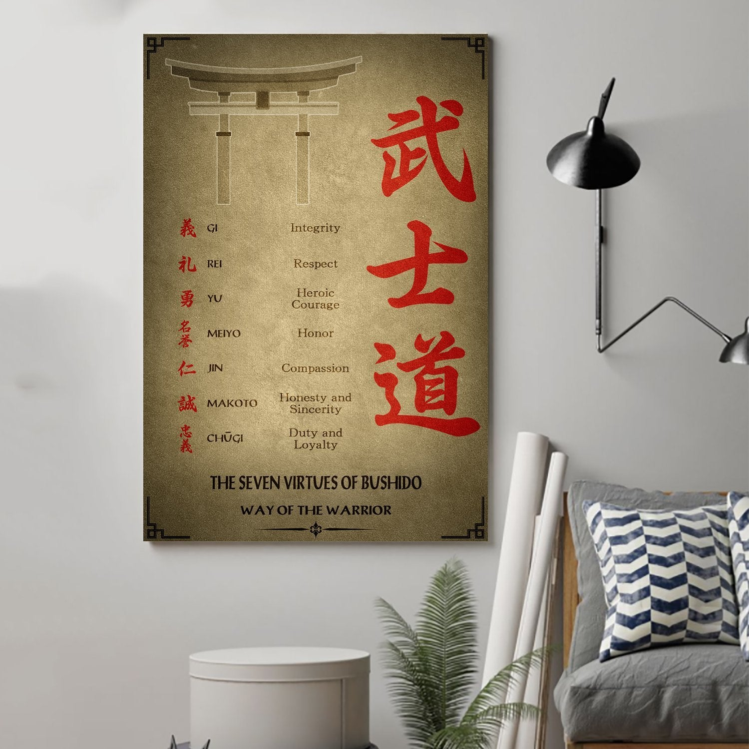 (cv33) Samurai Poster - the seven virtues