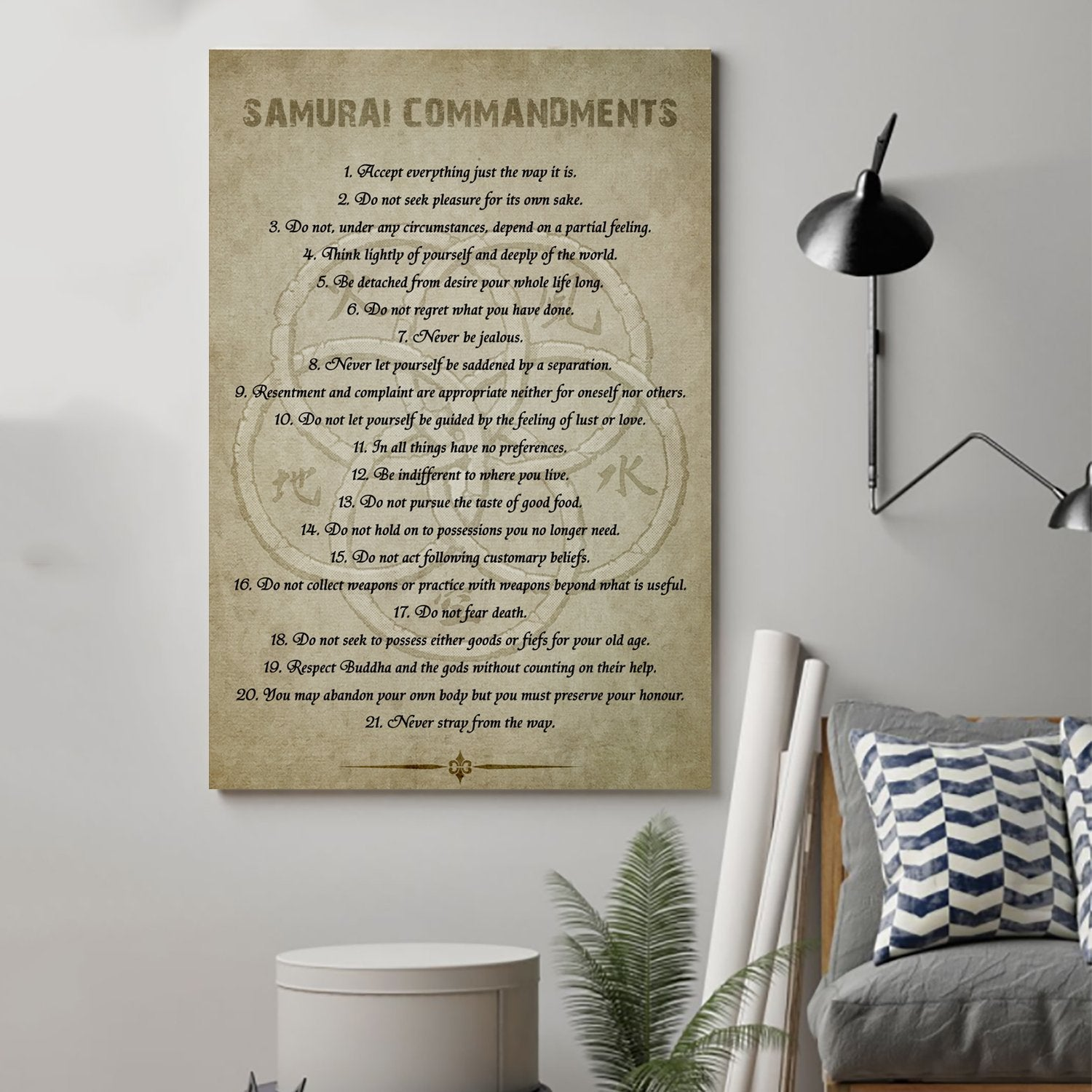 (cv34) Samurai Poster - Samurai commandments
