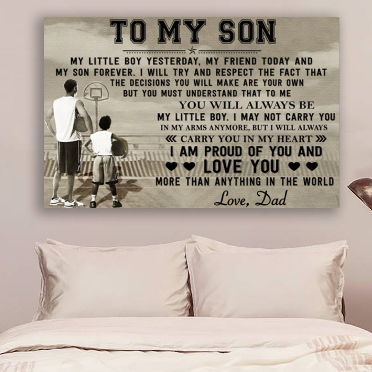 (cv394) Basketball Poster - To my Son my little boy