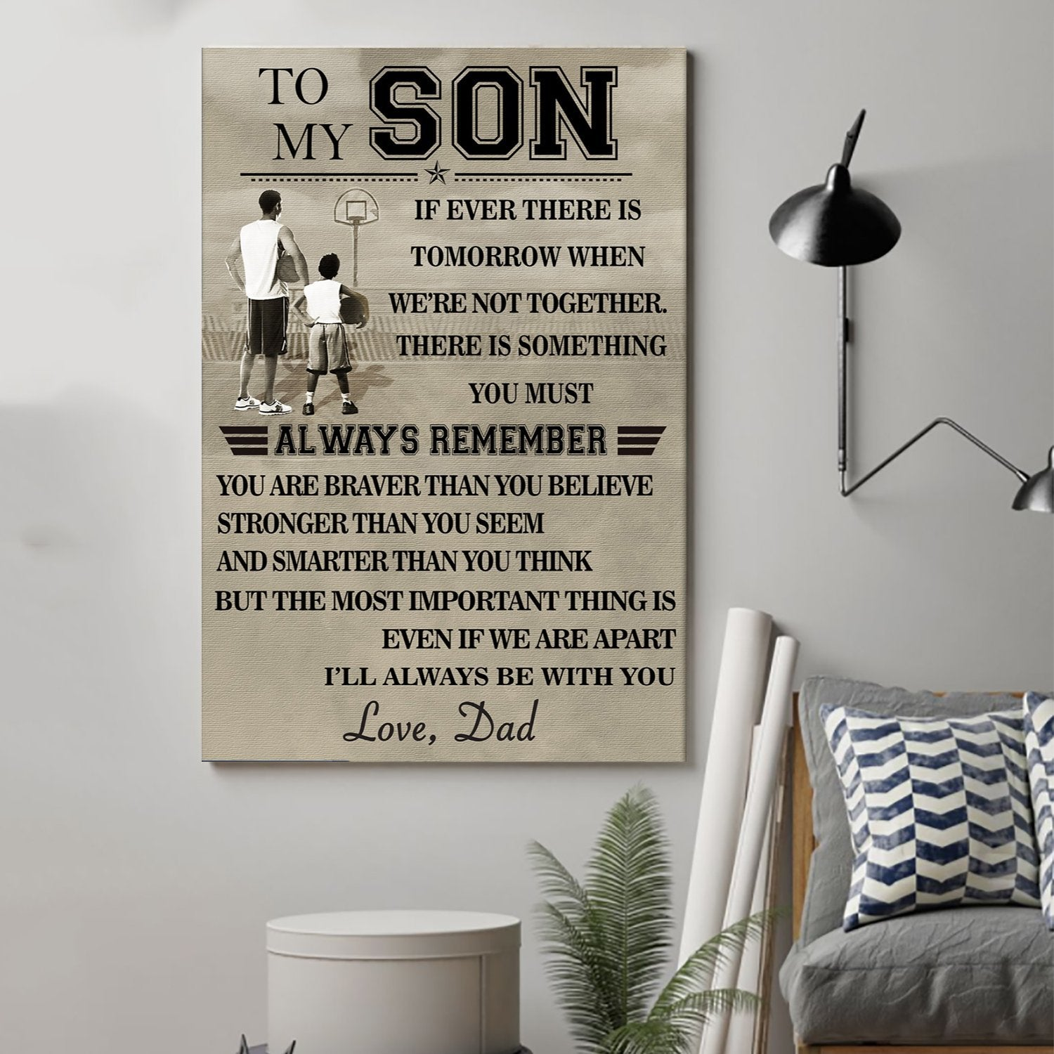 (cv395) Basketball Poster - To my son Always remember
