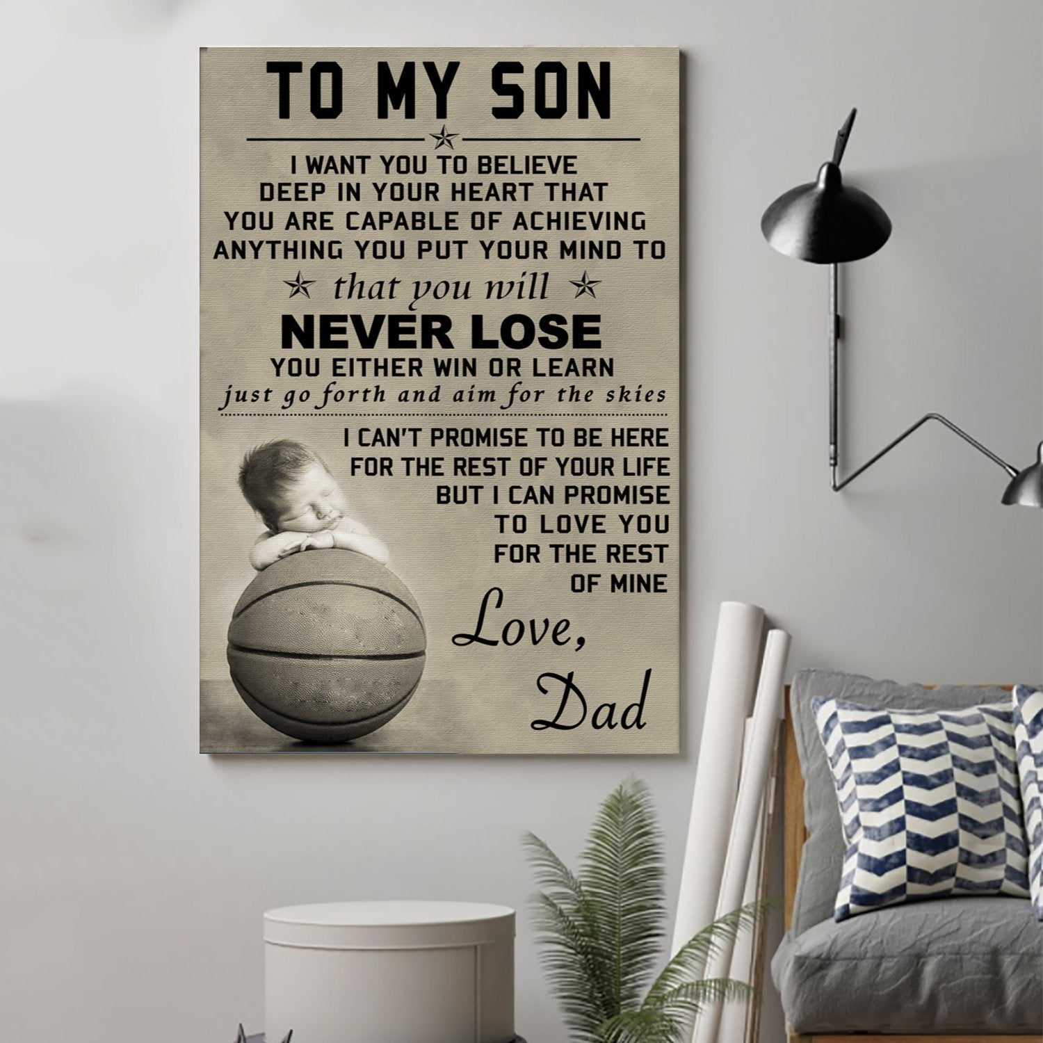 (cv461) Basketball Poster - Dad son - never lose