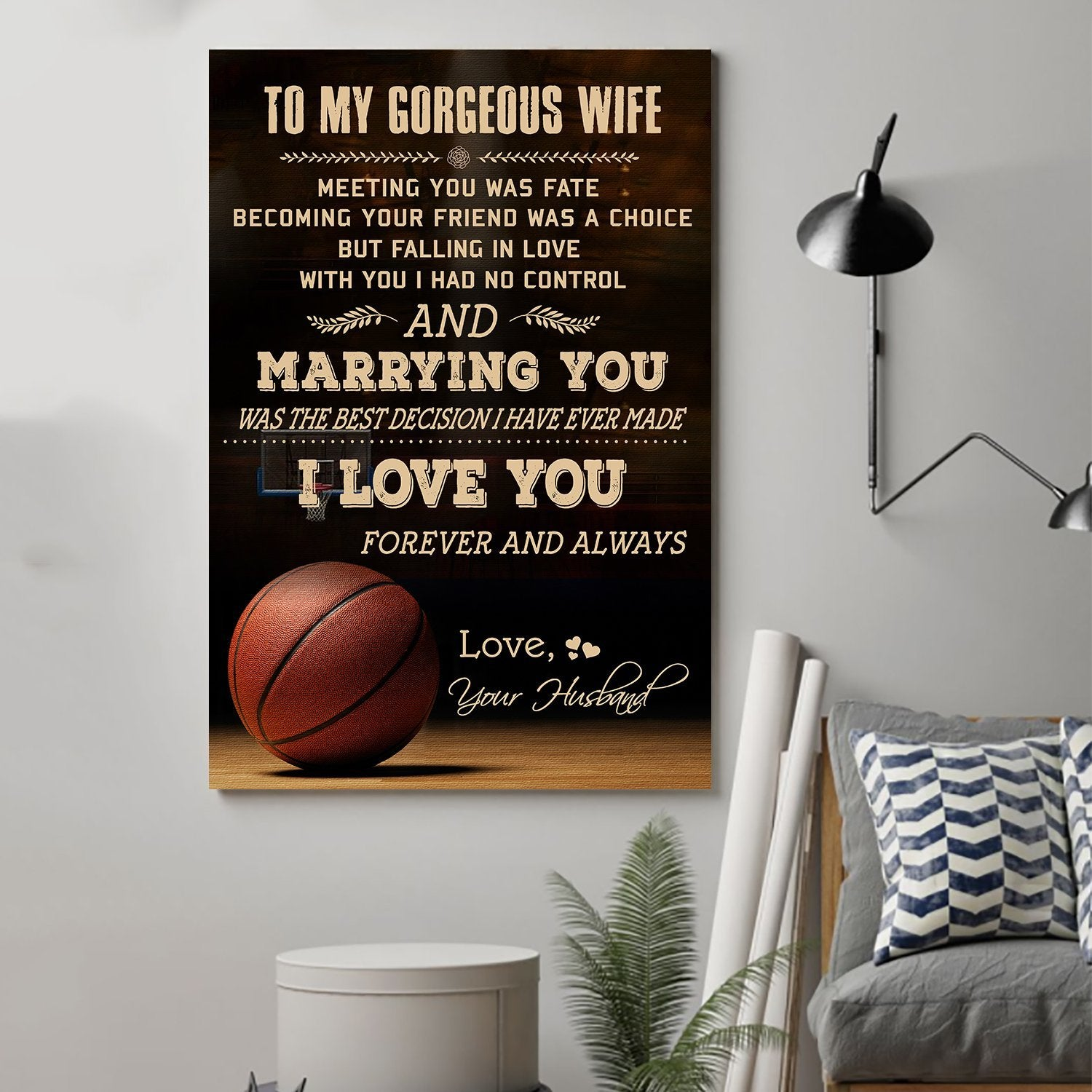(cv890) LHD basketball poster - husband to wife - meeting you