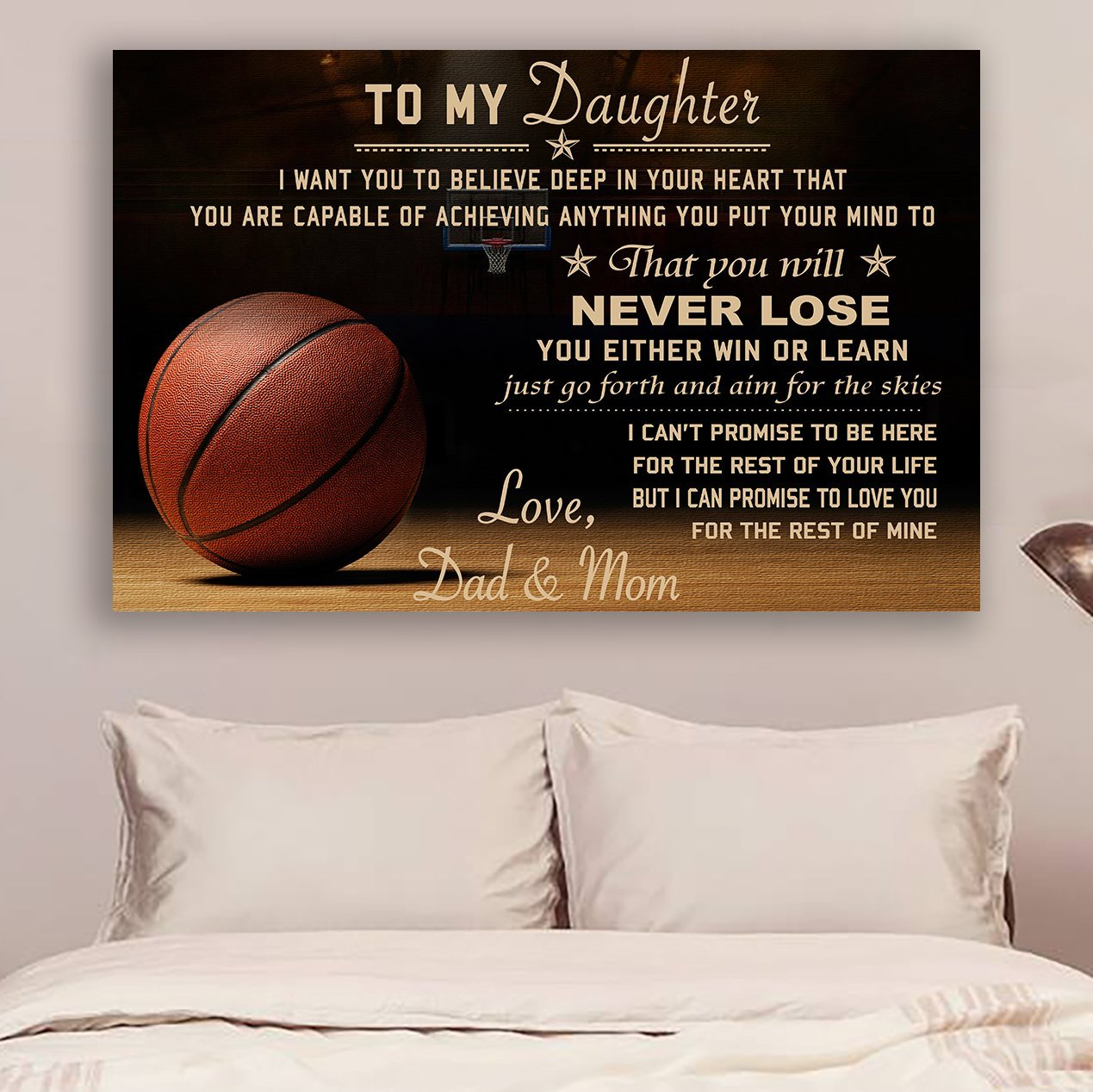 (CV557) Poster Basketball Dad and Mom to daughter Never Lose