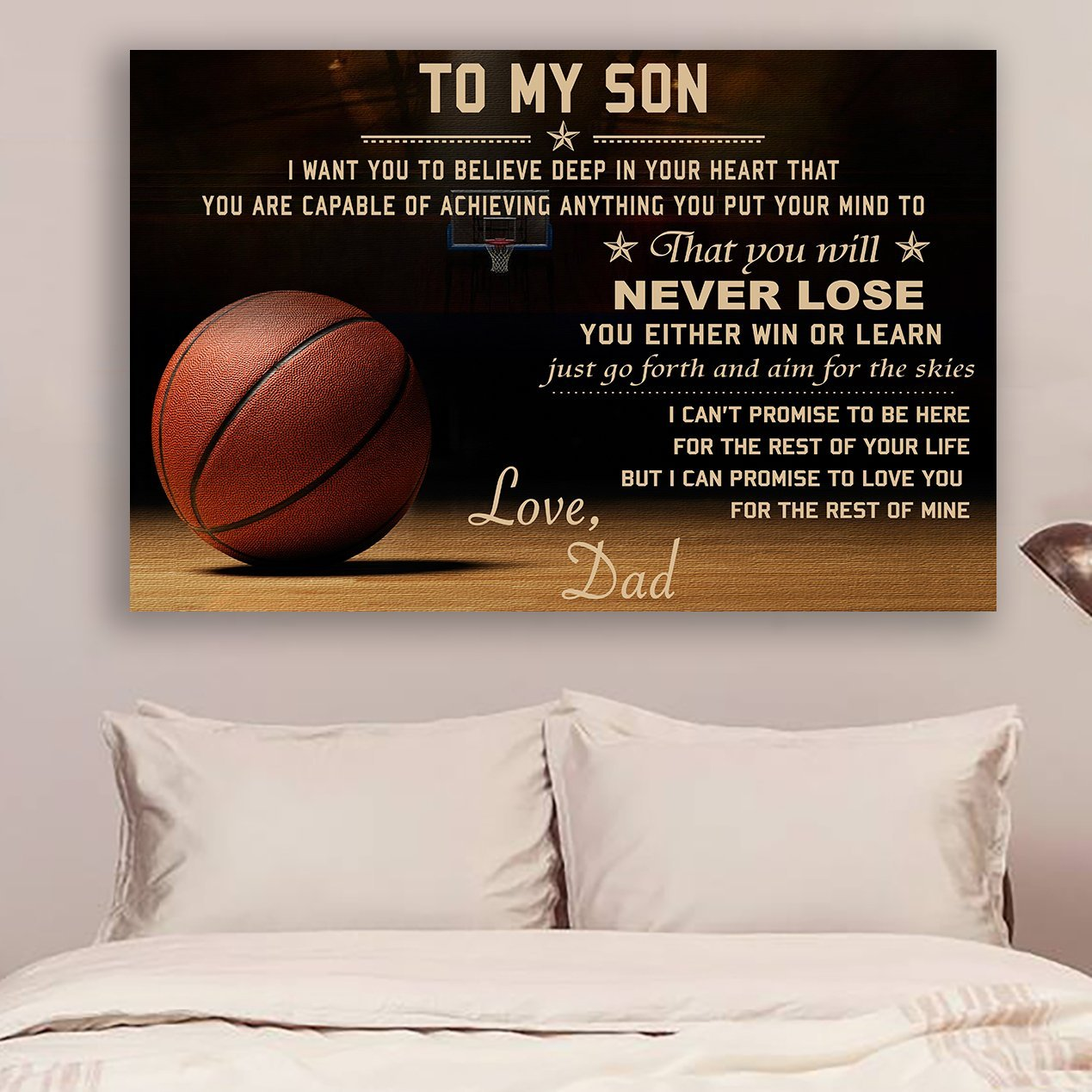 (CV567) Basketball Poster Dad Son Never Lose Poster