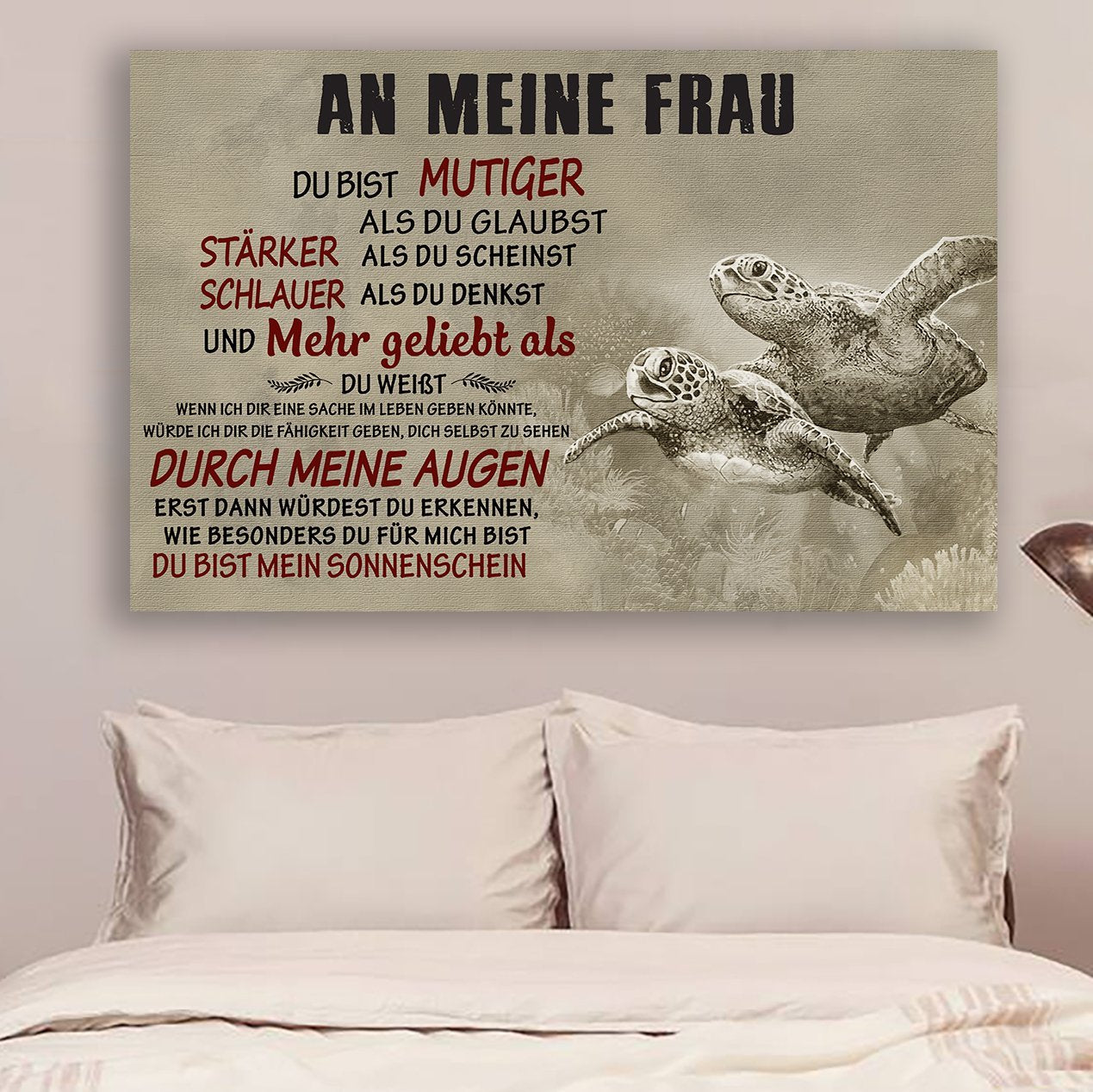 (CV1014) Turtle poster - An meine frau - You are braver - Germany