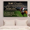 (cv1052) LHD Horse poster - Mom to daughter - Never lose