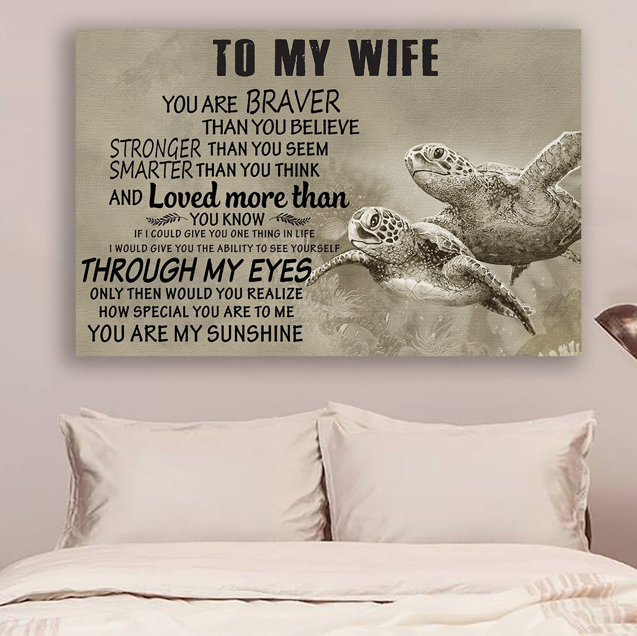 (cv900-B) LHD turtle poster - to wife - you are braver vs1