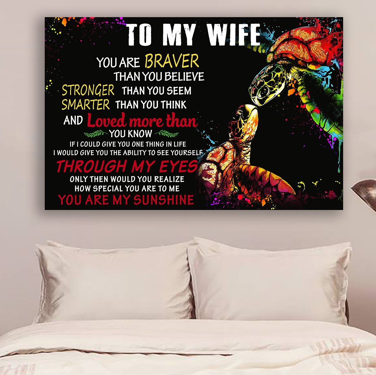 (cv1044) LHD Turtle Poster - To my wife - You are braver