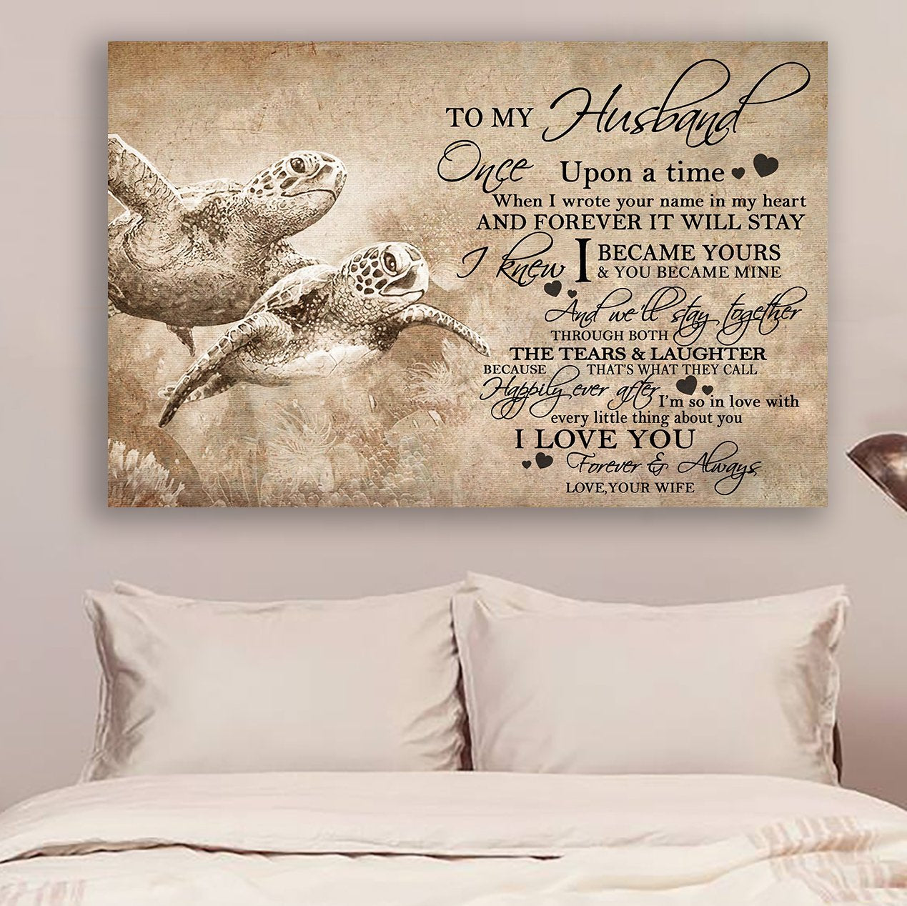 (cv1056) LHD Turtle poster - Wife to husband - Once a upon a time