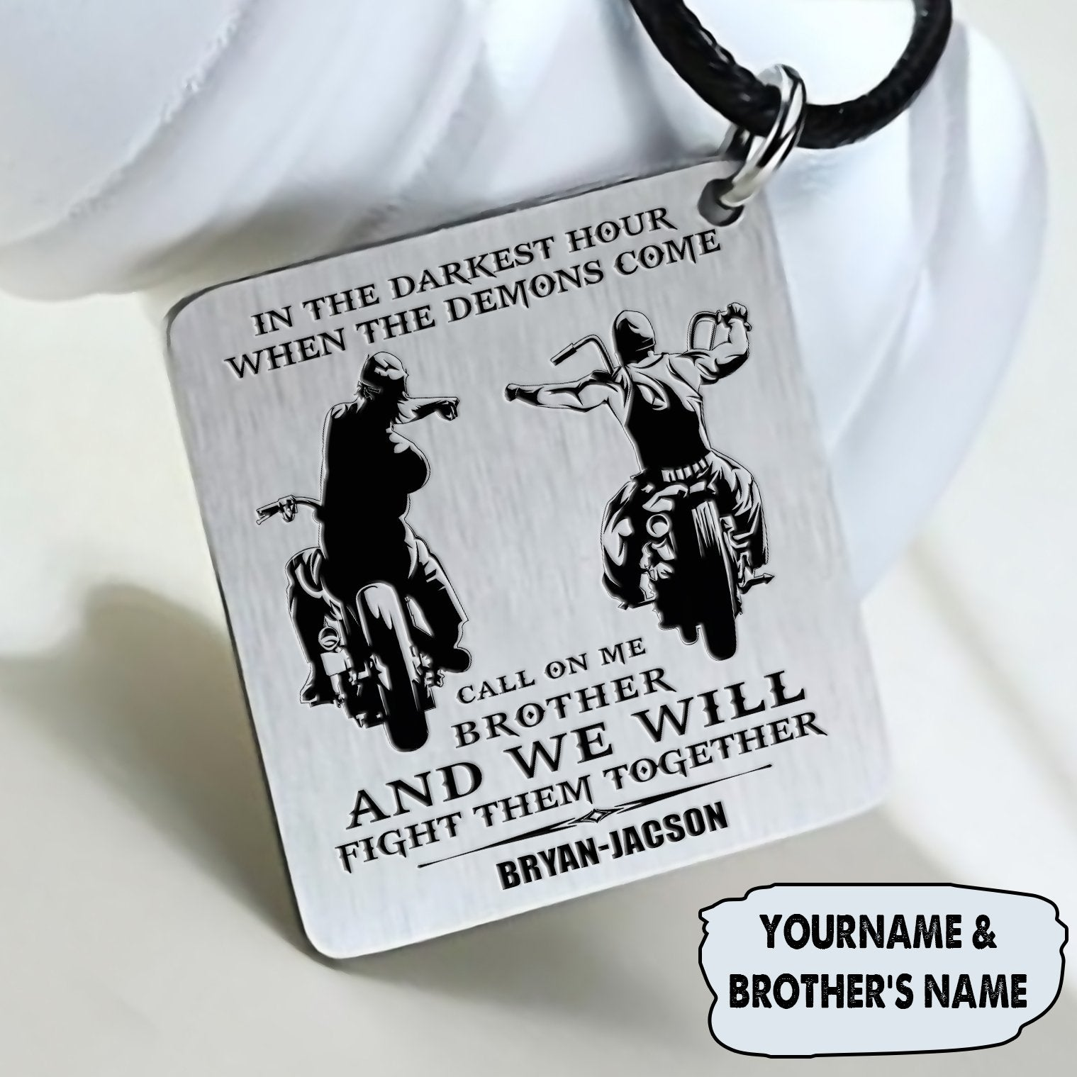 (LP32) BIKER BLACK ENGRAVED NECKLACE- CALL ON ME. FREE SHIPPING FROM 2 ITEMS