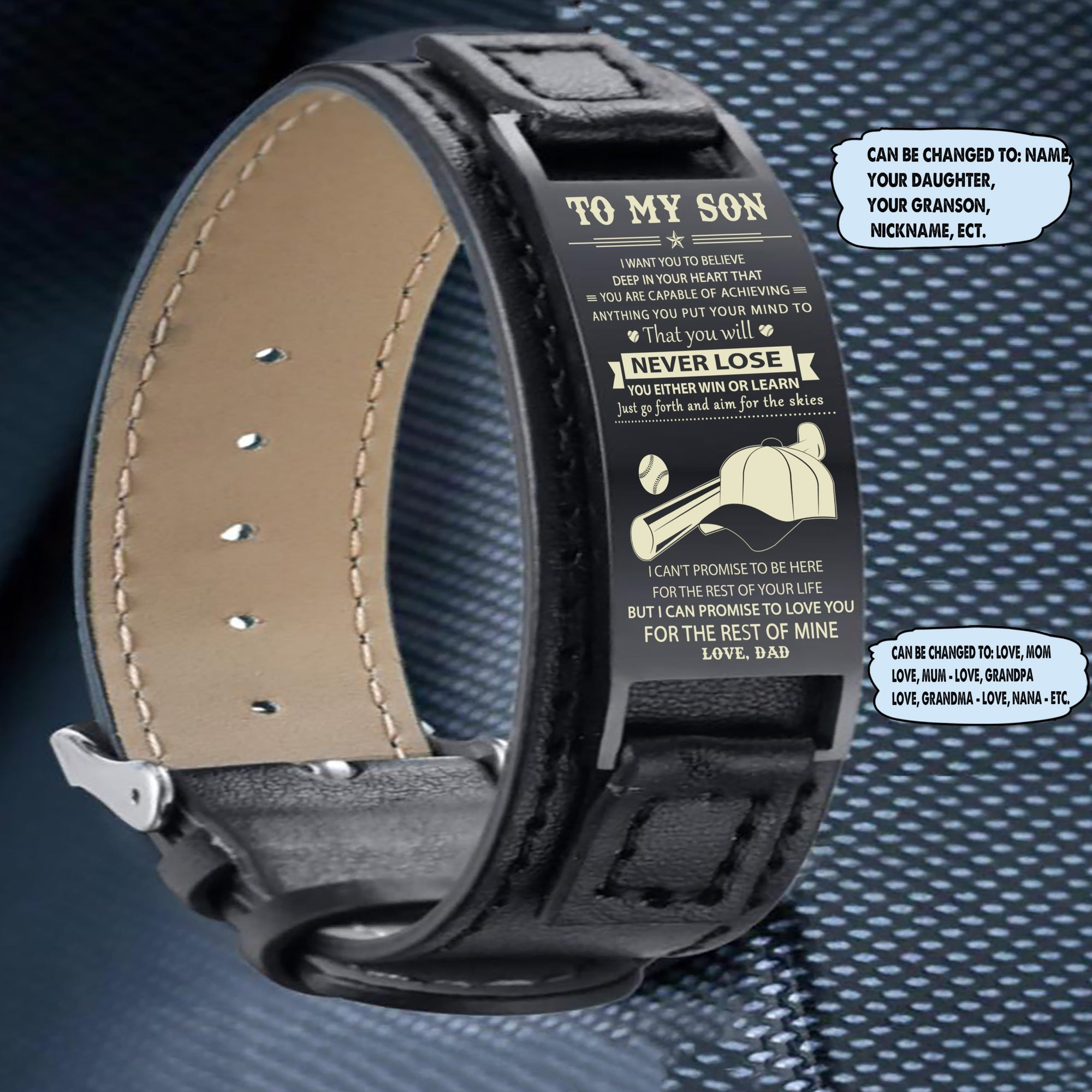 (LP125) Baseball Black Engraved Leather Steel Bracelets- Dad to son- never lose. FREE SHIPPING FROM 2 ITEMS