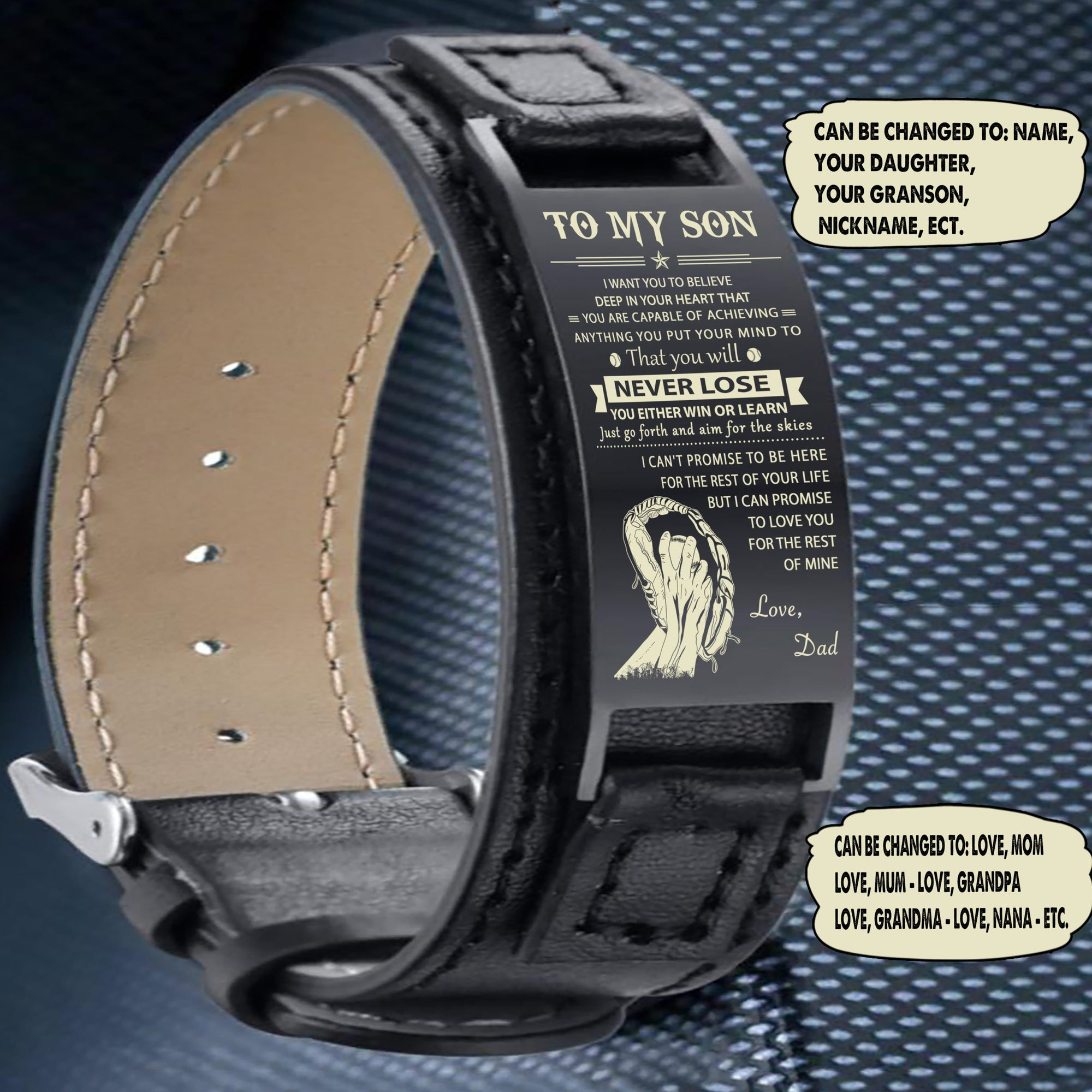 (LP127) Baseball Black Engraved Leather Steel Bracelets- Dad to son- never lose. FREE SHIPPING FROM 2 ITEMS
