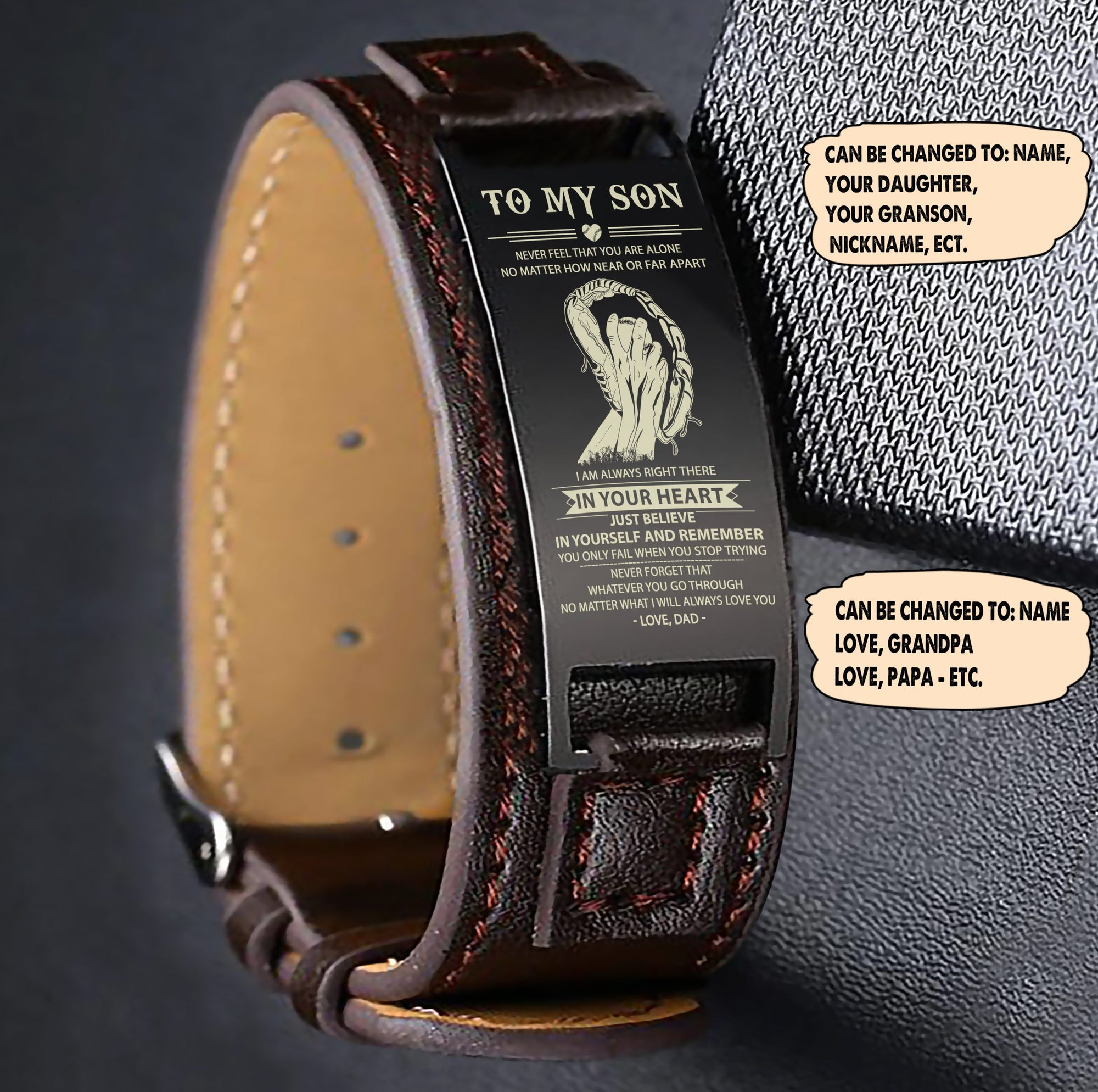 (LP128) Baseball Brown Engraved Leather Steel Bracelets- Dad to son- In your heart. FREE SHIPPING FROM 2 ITEMS