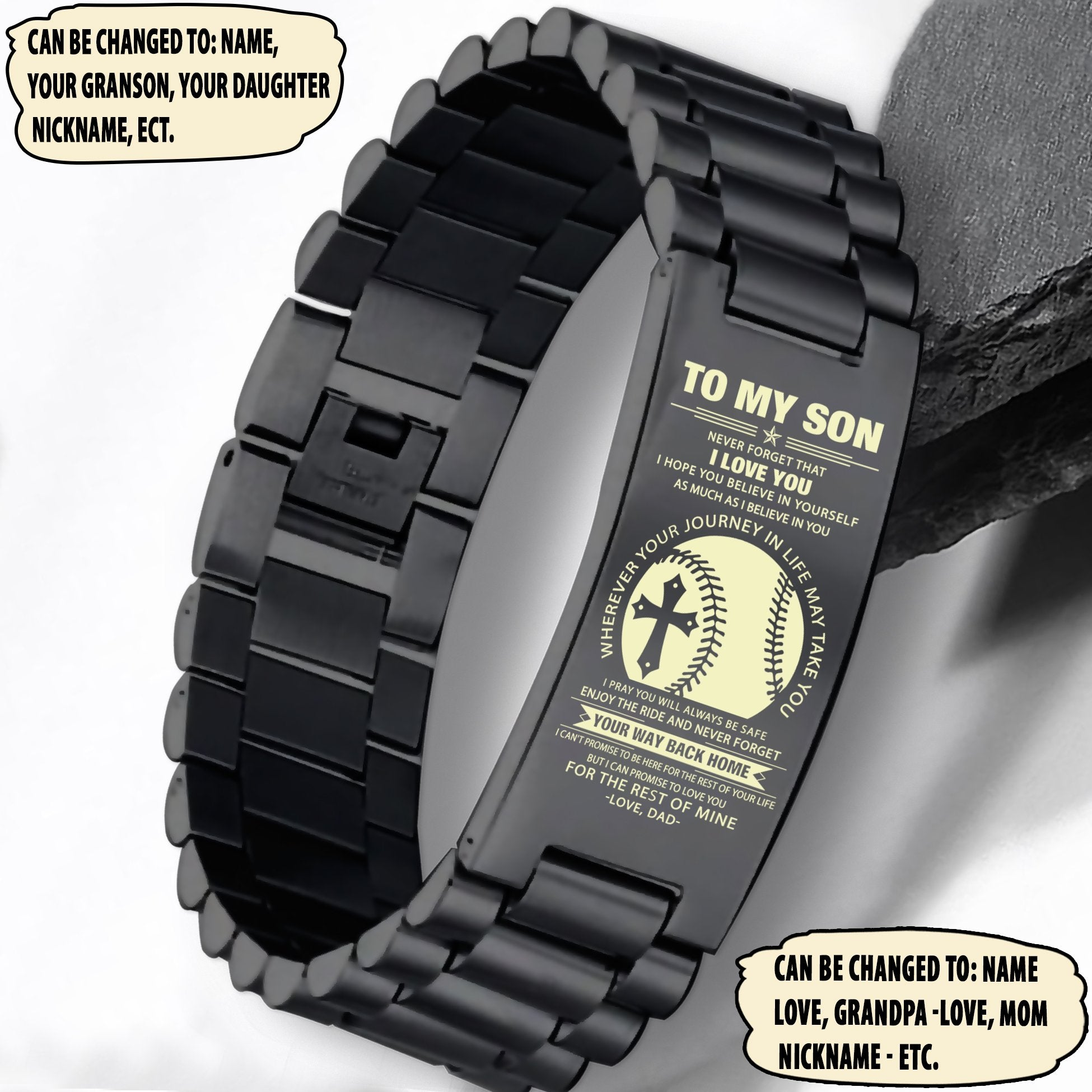 (LP173) Customizable Baseball ENGRAVED  bracelet - dad to son- way back home. FREE SHIPPING FROM 2 ITEMS