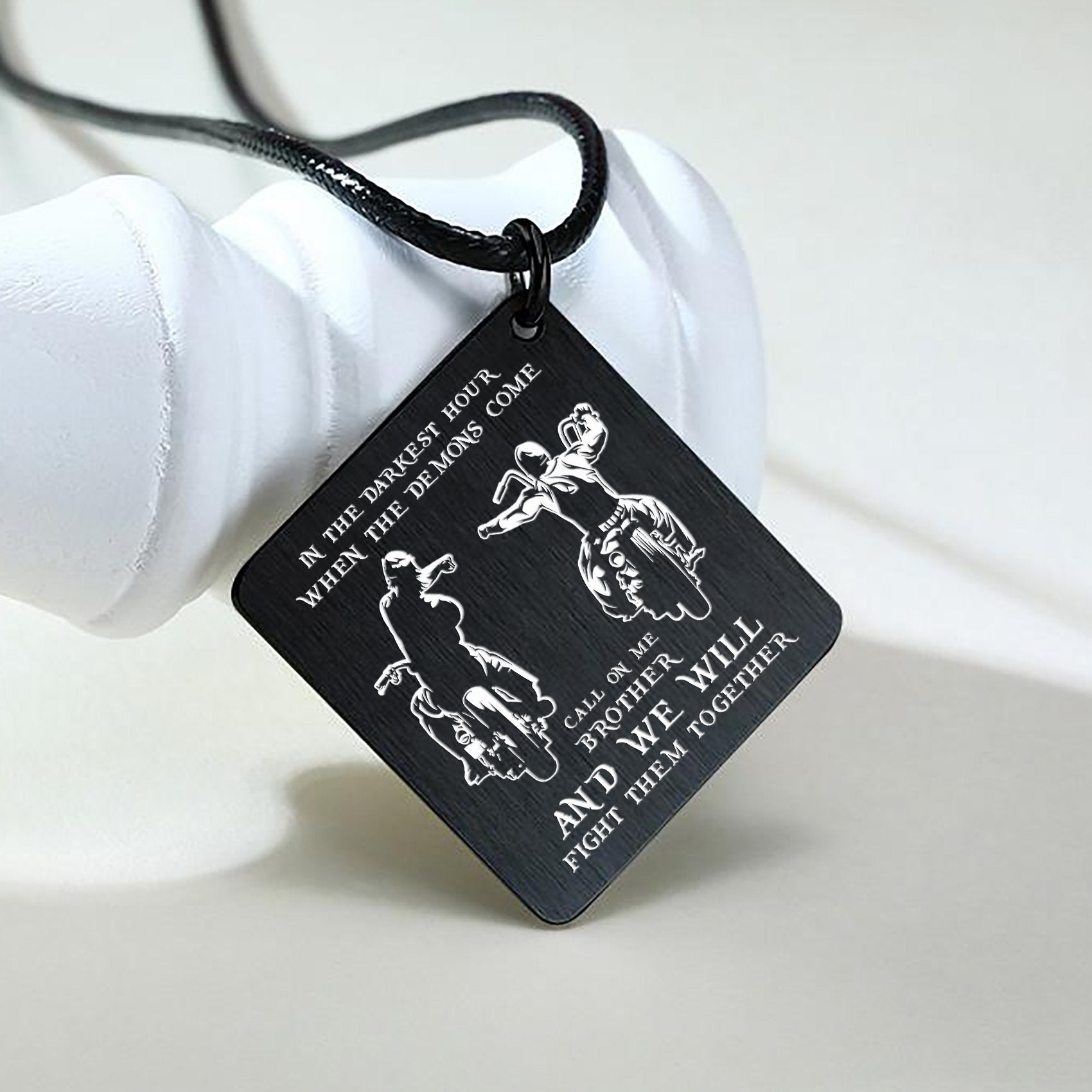 (LP22) BIKER BLACK ENGRAVED NECKLACE- CALL ON ME. FREE SHIPPING FROM 2 ITEMS