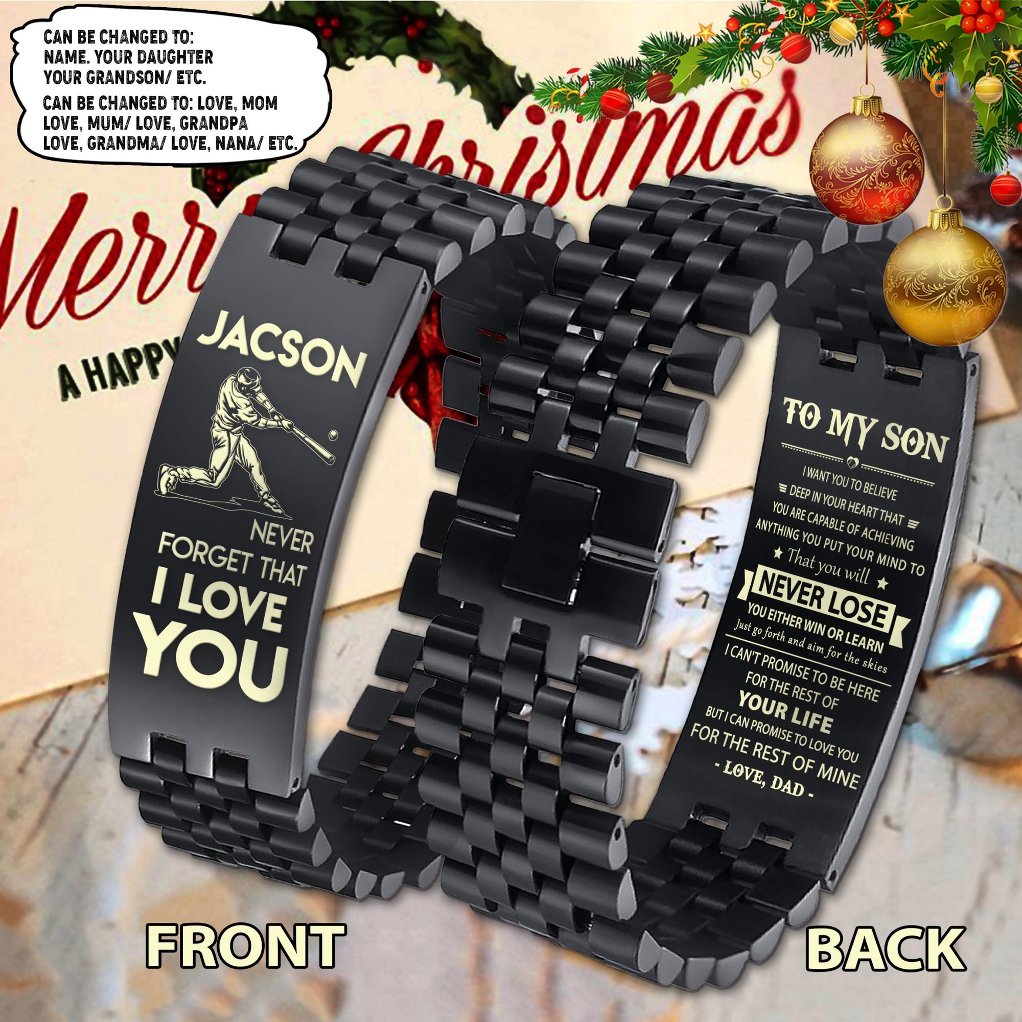 (LP284) CUSTOMIZABLE BASEBALL BRACELET 2 FACES - DAD TO SON- NEVER LOSE- FREE SHIPPING FROM 2 ITEMS