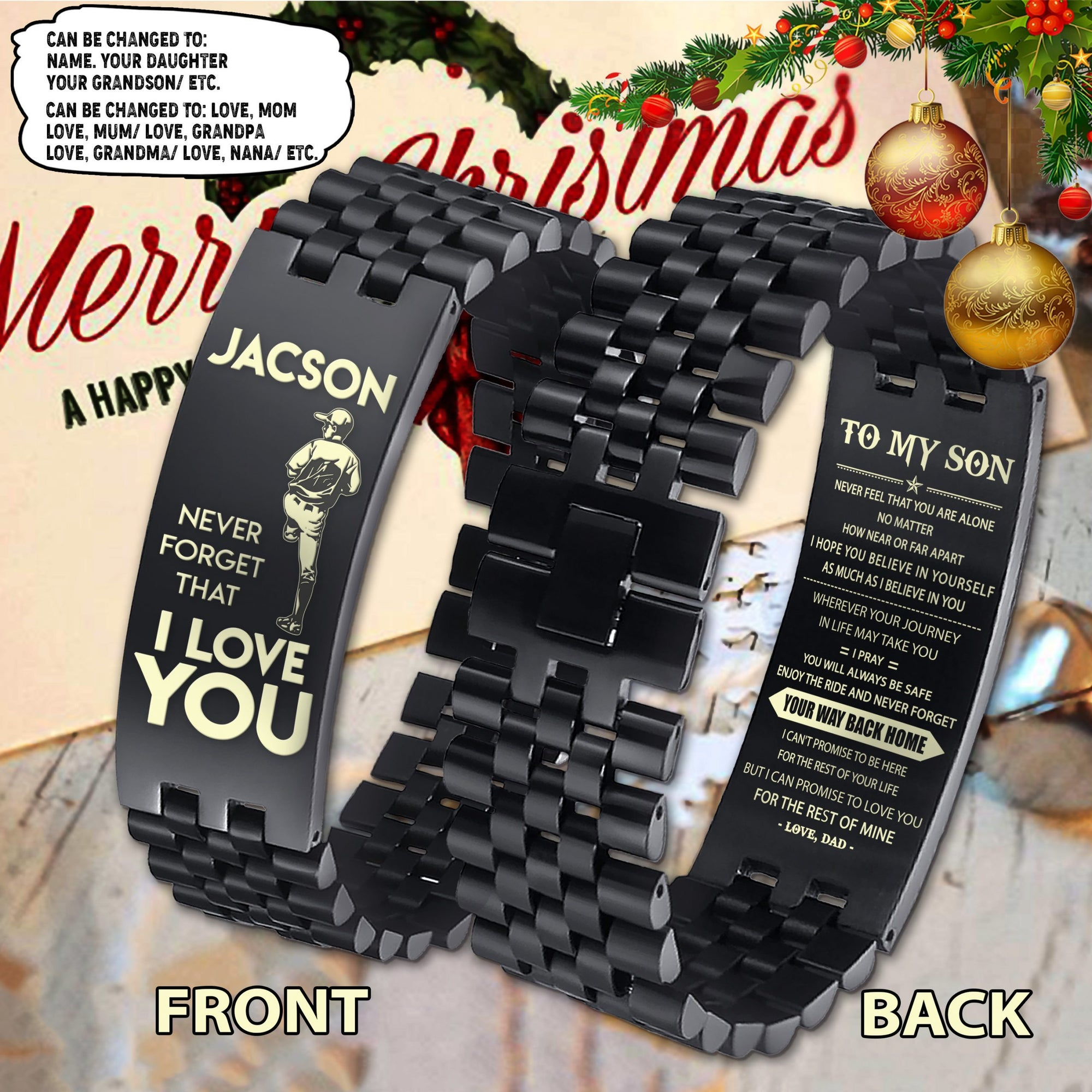 (LP285) CUSTOMIZABLE BASEBALL BRACELET 2 FACES- DAD TO SON- YOUR WAY BACK HOME- FREE SHIPPING FROM 2 ITEMS