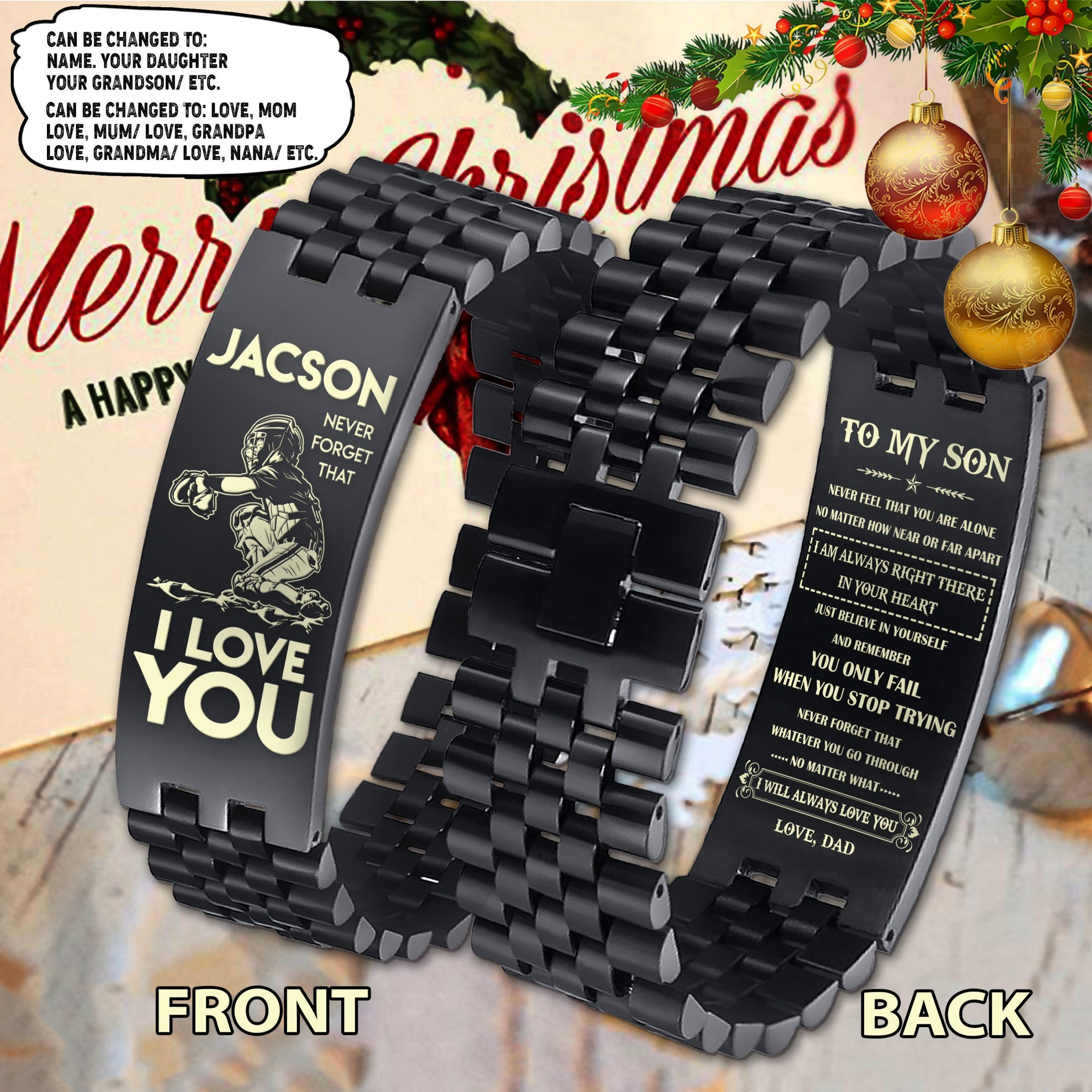 (LP286) CUSTOMIZABLE BASEBALL BRACELET 2 FACE - DAD TO SON- BELIEVE IN YOUR SELF- FREE SHIPPING FROM 2 ITEMS