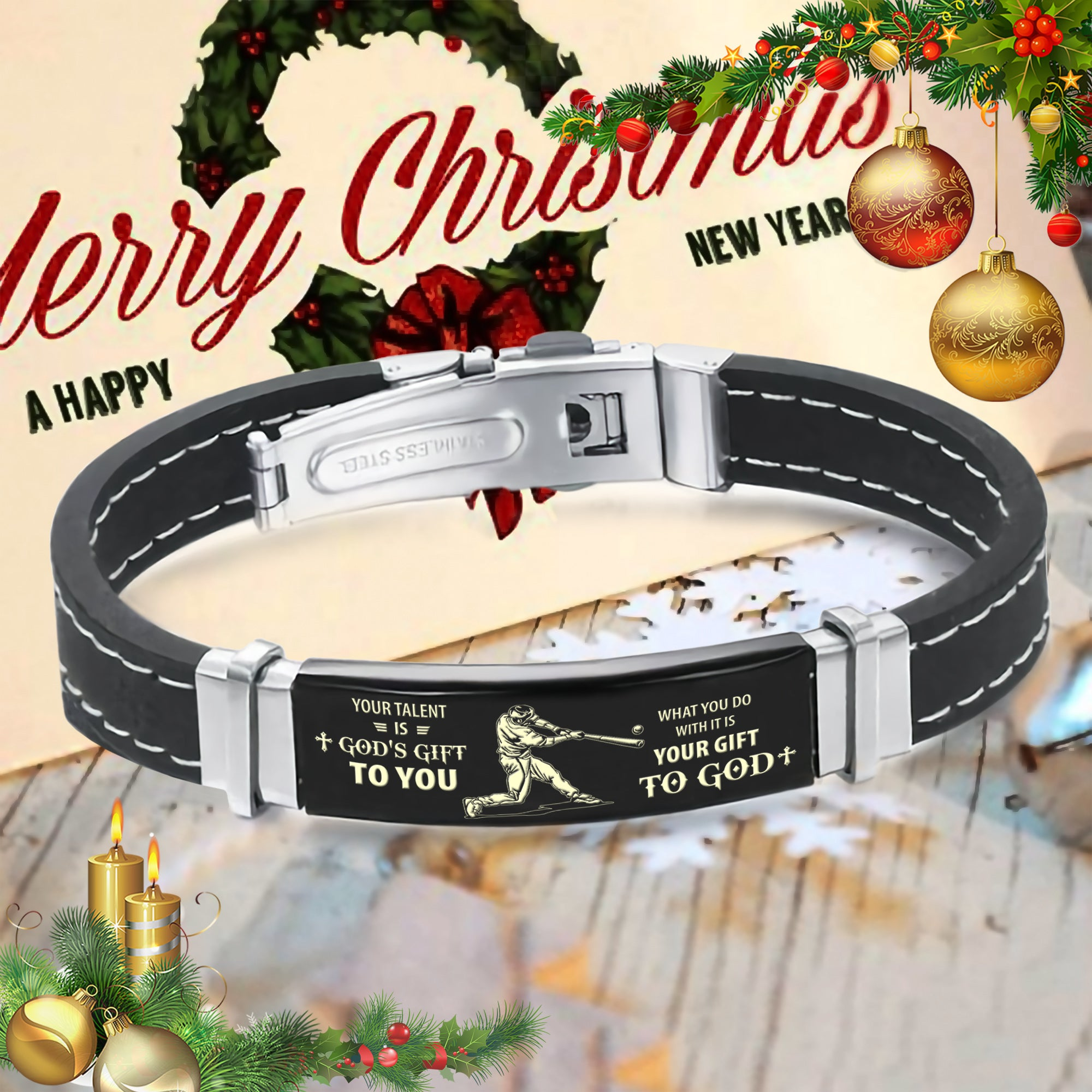 (LP313) CUSTOMIZABLE BASEBALL Silicone and Stainless Steel bracelet - YOUR TALENT IS GOD'S GIFT