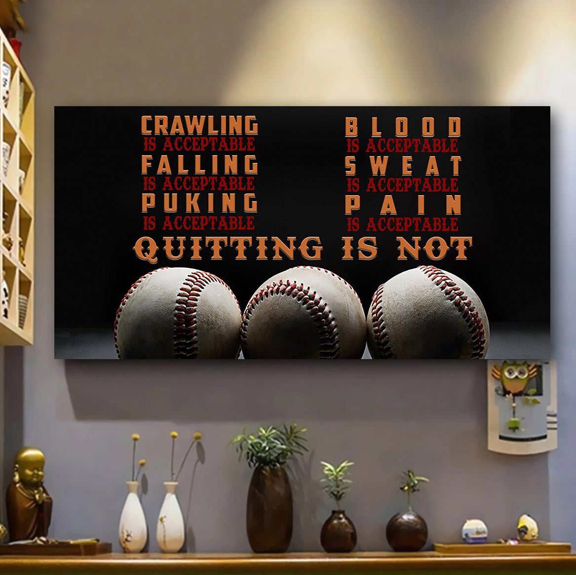 (LP328) Customizable Baseball Poster, Canvas -  quitting is not  - FREE SHIPPING ON ORDERS OVER $75