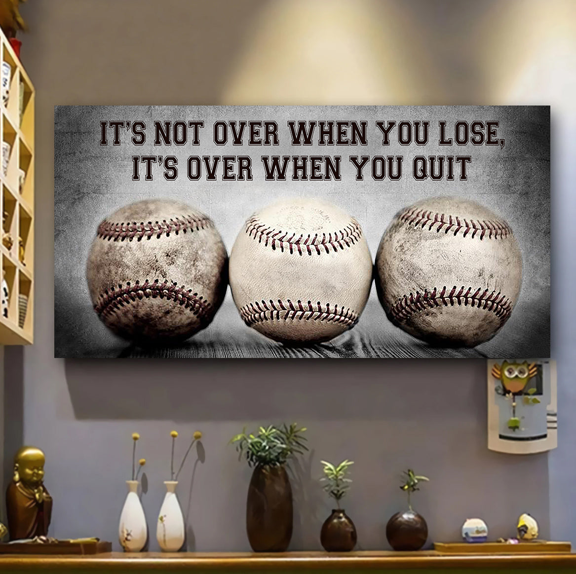 (LP333) Customizable Baseball Poster, Canvas - It's not over when you lose - FREE SHIPPING ON ORDERS OVER $75