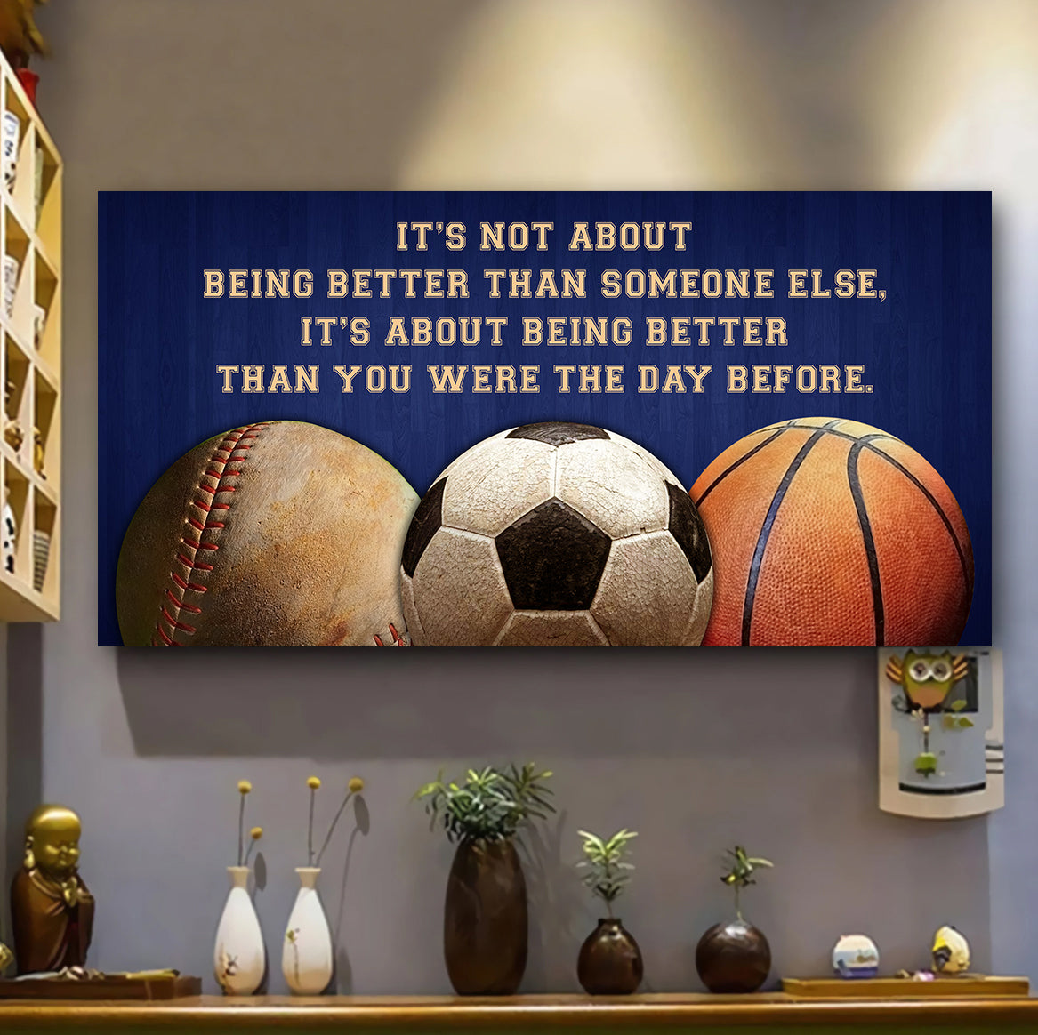 (LP347) Customizable basketball, baseball , soccer - Poster canvas - It's not about - FREE SHIPPING ON ORDERS OVER $75