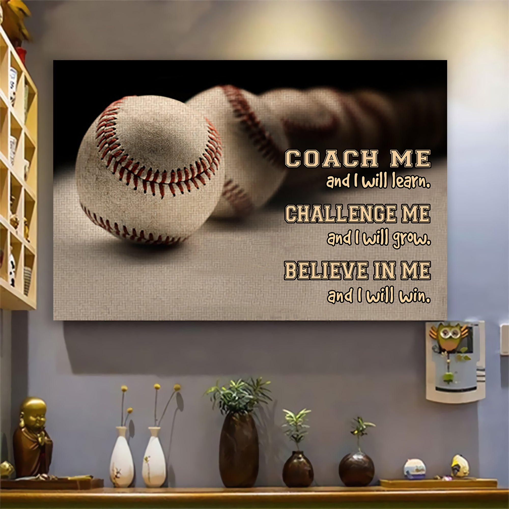 (LP349) Customizable Baseball Poster - Coach me and I will learn - FREE SHIPPING ON ORDERS OVER $75