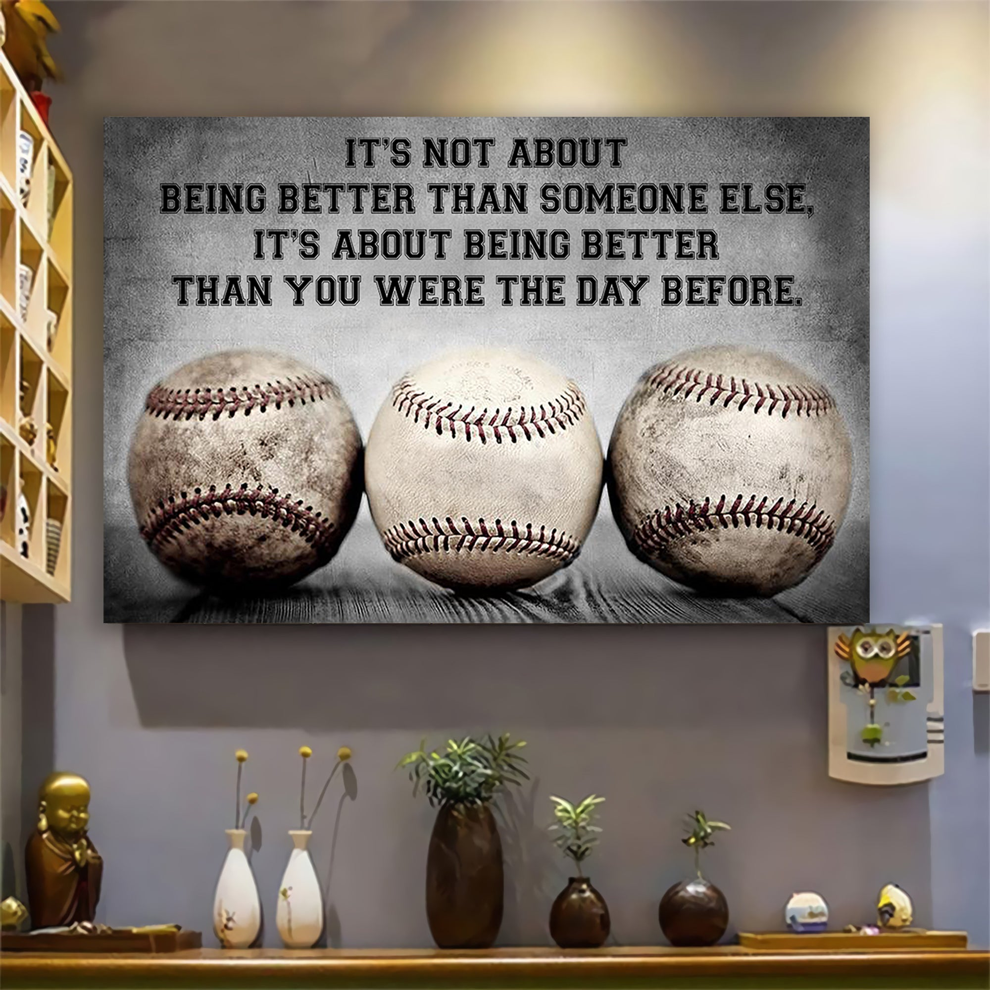 (LP361) Customizable Baseball Poster, Canvas - It's not about - FREE SHIPPING ON ORDERS OVER 75$